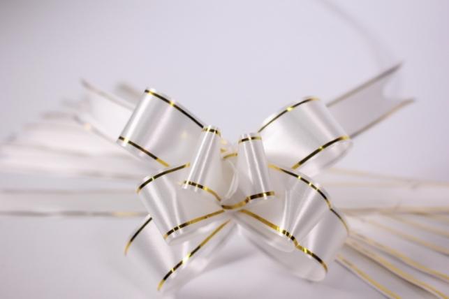 бант из ленты - бант-бабочка 22х470мм (золотая полоса) белый  (10 шт.)