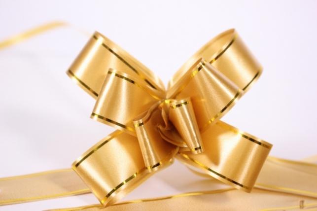 бант из ленты - бант-бабочка 22х470мм (золотая полоса) бронза  (10 шт.)