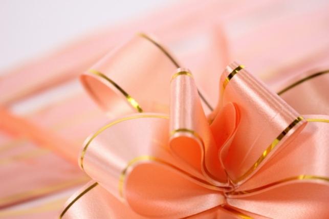 бант из ленты - бант-бабочка 22х470мм (золотая полоса) персиковый  (10 шт.)