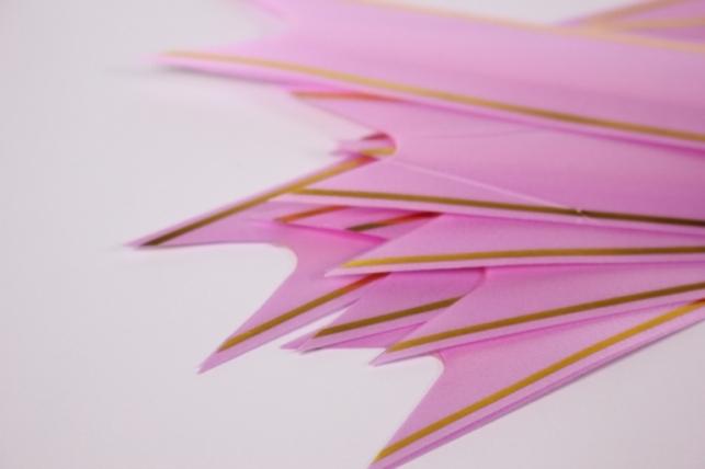 бант из ленты - бант-бабочка 22х470мм (золотая полоса) розовый  (10 шт.)