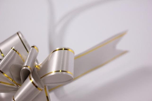 бант из ленты - бант-бабочка 22х470мм (золотая полоса) серебро (10 шт.)
