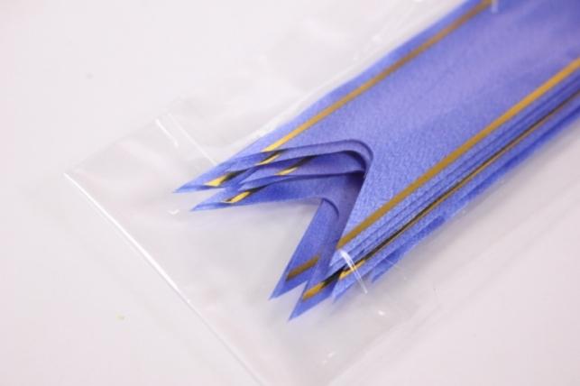 бант из ленты - бант-бабочка 22х470мм (золотая полоса) синий (10 шт.)
