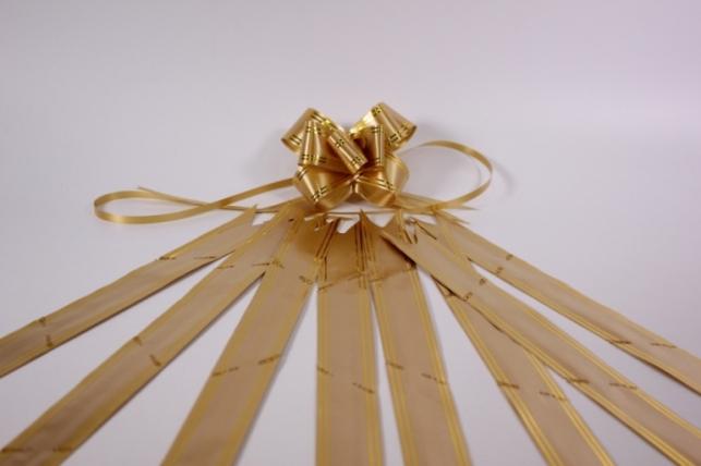 бант из ленты - бант-бабочка 32х570мм (золотая полоса) бронза (10 шт.)