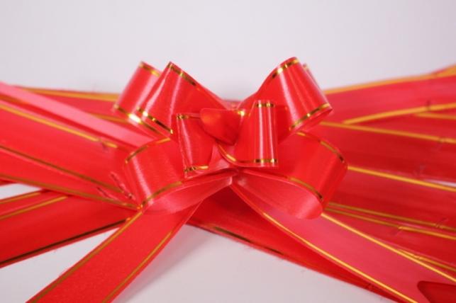 бант из ленты - бант-бабочка 32х570мм (золотая полоса) красный  (10 шт.)