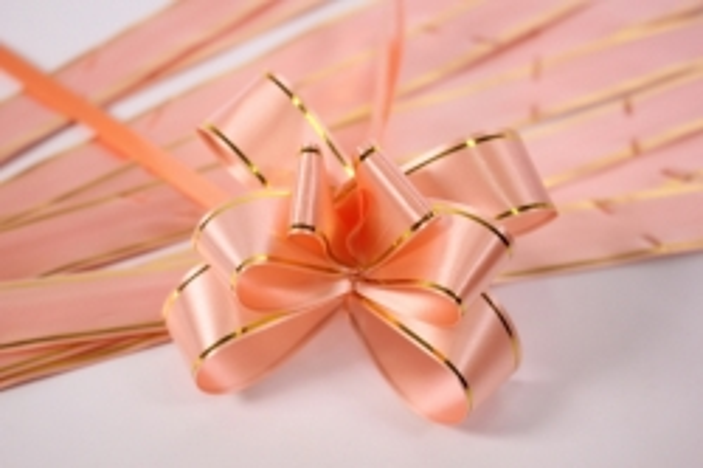 бант из ленты - бант-бабочка 32х570мм (золотая полоса) персик (10 шт.)