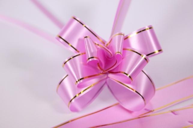 бант из ленты - бант-бабочка 32х570мм (золотая полоса) розовый (10 шт.)