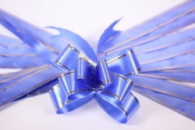 бант из ленты - бант-бабочка 32х570мм (золотая полоса) синий  (10 шт.)