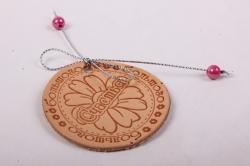 Бирка из натуральной кожи «Большого счастья», декор бант из металлизированного шнура, бусины