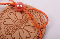 бирка из натуральной кожи ?50 мм «большого счастья», декор бант из шнура, бусина