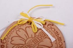 бирка из натуральной кожи ?50 мм «большого счастья», декор бант из вощеных шнуров