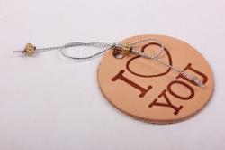 Бирка из натуральной кожи  «I Love You», декор бант из металлизированного шнура, бусины