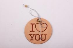 бирка из натуральной кожи ?50 мм «i love you», декор бант из металлизированного шнура, бусины