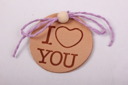Бирка из натуральной кожи  «I Love You», декор бант из шнура, бусина