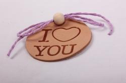 бирка из натуральной кожи ?50 мм «i love you», декор бант из шнура, бусина
