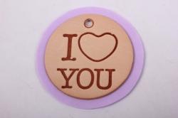 Бирка из натуральной кожи  «I Love You», подложка фоамиран