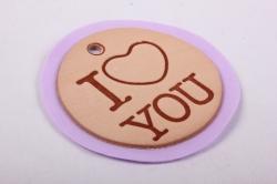 бирка из натуральной кожи ?50 мм «i love you», подложка фоамиран