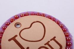 бирка из натуральной кожи ?50 мм «i love you», подложка фоамиран, стразы