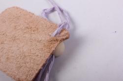 бирка из натуральной кожи 50х35 мм «я тебя люблю», декор бант из шнура, бусина