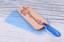 бирка из натуральной кожи «c праздником» подвеска цветная