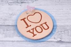 бирка из натуральной кожи «i love you», подвеска цветная