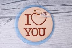 Бирка из натуральной кожи  «I Love You», подвеска прозрачная