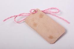 бирка из натуральной кожи  «поздравляем», декор бант из шнура, бусина