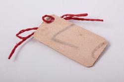 бирка из натуральной кожи  «поздравляю», декор бант из шнура, бусина