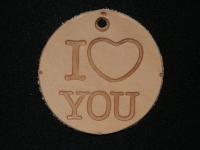 Бирка кожа - I love you - круг d=5см
