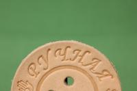 """бирка кожа """"ручная работа"""" круг пуговица d=5см"""