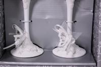 """бокалы свадебные """"бабочки белые"""" люкс h=24см (2шт в наб) (16)"""
