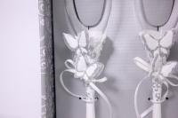 """бокалы свадебные """"бабочки серебро"""" люкс h=24см (2шт в наб) (16)"""