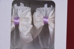 """бокалы свадебные  """"голуби, кольцо на ножке из роз""""  (2шт в уп) ар"""