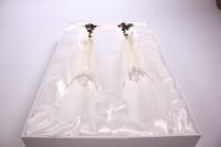 """бокалы свадебные """"люкс"""" с жемчугом в ножке (2шт в уп)"""