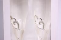 """бокалы свадебные """"люкс"""" с сердцами серебро h=25см (2шт в уп)"""