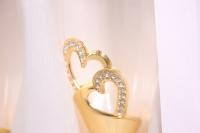 """бокалы свадебные """"люкс"""" с сердцами золото h=25см (2шт в уп)"""