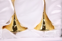 """бокалы свадебные """"люкс"""" золото с кристаллами на длин. ножке h=27см (2шт в уп)"""