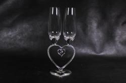 Бокалы свадебные  на ножке в виде сердца, серебро  (2шт в уп) 16095