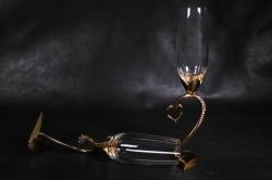 бокалы свадебные  на ножке в виде сердца, золото  (2шт в уп) 16094