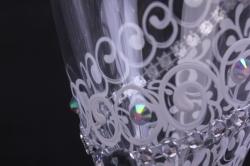 """бокалы свадебные  """"с бело/ментоловым декором""""  (2шт в уп)"""