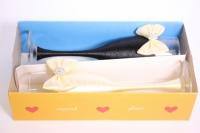 """бокалы свадебные с декором """"люкс"""" бант+шнурок бежево/белые h=22см (2шт в уп)"""