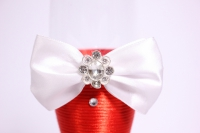 """бокалы свадебные с декором """"люкс"""" бант+шнурок бордово/белые h=22 (2шт в уп)"""