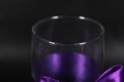 """бокалы свадебные с декором """"люкс"""" бант+шнурок фиолетово/белые (2шт в уп)"""