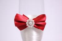 """бокалы свадебные с декором """"люкс"""" бант+шнурок красно/белые h=22см (2шт в уп)"""
