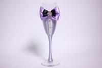 """бокалы свадебные с декором """"люкс"""" бант+шнурок сиренево/белые h=22см (2шт в уп)"""