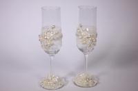 """бокалы свадебные """"с кружевом и цветами"""" h=24см (2шт в наб) (1)"""