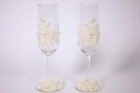 """бокалы свадебные """"с кружевом и орхидеями"""" h=24см (2шт в наб) (1)"""
