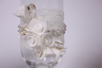 """бокалы свадебные """"с розами и стразами"""" - белые h=22см (2шт в наб) (1)"""