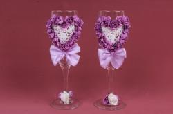 """Бокалы свадебные  """"Сердце из роз сиреневое""""  (2шт в уп) Ар"""