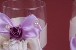 """бокалы свадебные  """" сиреневые банты""""  (2шт в уп) ар"""