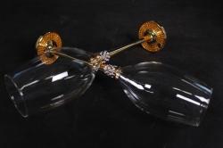 бокалы свадебные золото 2 шт. + подарочная коробка 16093